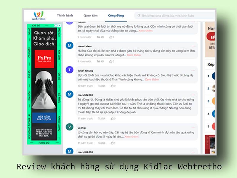 Review khách hàng sử dụng Kidlac Webtretho