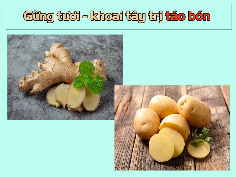 Khoai tây kết hợp với gừng tươi trị táo bón