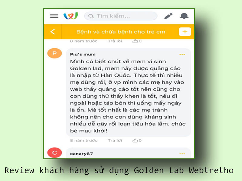 Review khách hàng sử dụng Golden Lab Webtretho