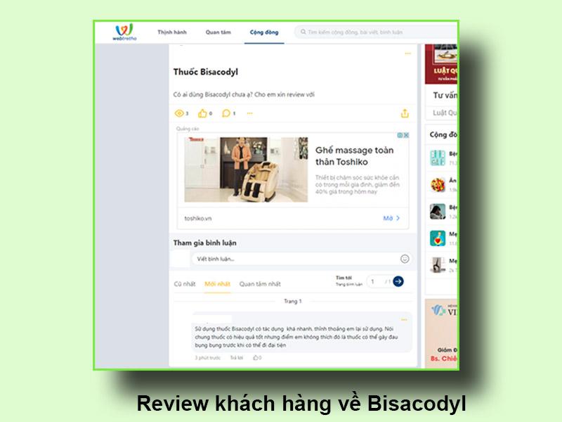 Review của khách hàng về Bisacodyl