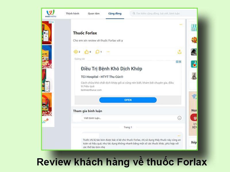 Review của khách hàng về thuốc Forlax