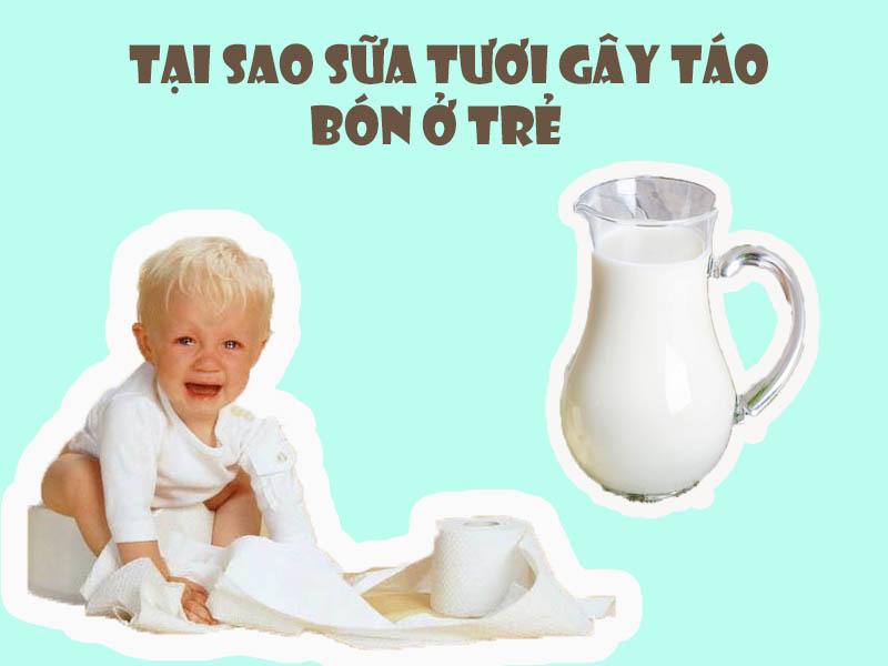 Tại sao trẻ uống sữa tươi lại bị táo bón?
