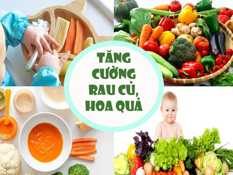 Tăng cường rau củ, hoa quả tươi cho bé